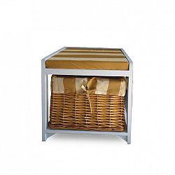 Bílo-medová lavice s košíkem TK059