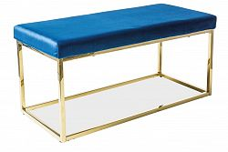 Čalouněná lavice v granátově modré barvě na pozlacené konstrukci KN971