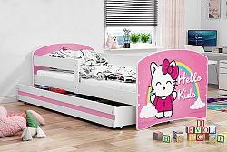 Dětská postel v růžové barvě s moderním motivem kočky 80x160 cm F1227