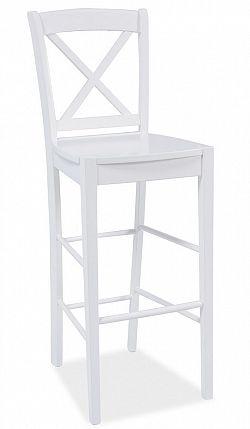 Dřevěná barová židle v bílé barvě KN271