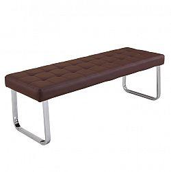 Hnědá lavice z ekokůže TK058