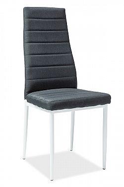Jídelní čalouněná židle v černé barvě na bílé kovové konstrukci KN907