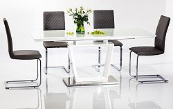 Jídelní rozkládací stůl 140x85 cm v bílém laku s deskou z tvrzeného skla KN599