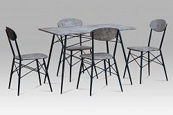 Jídelní set 1+4 kovový v barvě beton AUT-2020 BET AKCE