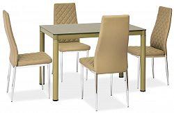 Jídelní stůl 110x70 cm se skleněnou deskou v tmavě béžové barvě KN733