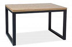 Jídelní stůl 120x80 cm z dýhy v dekoru dub s černou kovovou konstrukcí typ II KN444