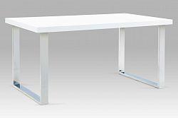 Jídelní stůl 150 x 90 cm v kombinaci bílý lesk a chrom A880 WT