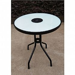 Jídelní stůl 60x60cm k zahradnímu setu s temperovaným sklem TK2108