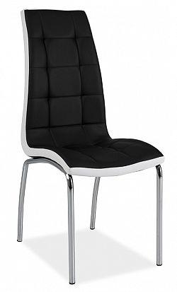 Jídelní židle s čalouněním v černé ekokůži s bílým lemováním KN161