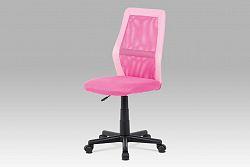Kancelářská židle růžová v kombinaci látky MESH a ekokůže KA-V101 PINK