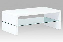 Konferenční stolek 110x60 cm z MDF ve vysokém bílém lesku s policí ze skla AHG-402 WT
