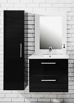 Koupelnová sestava s umyvadlem v černém lesku 79 cm F1250