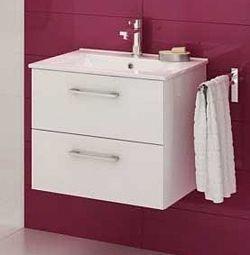 Koupelnová skříňka s umyvadlem v bílém lesku 59 cm F1250