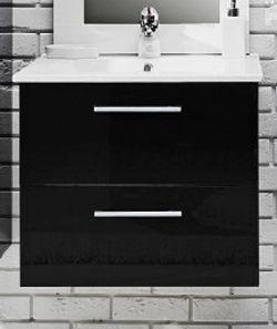 Koupelnová skříňka s umyvadlem v černém lesku 59 cm F1250