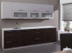 Kuchyňská linka POSNANIA 260 cm tmavé zebrano/světlé zebrano