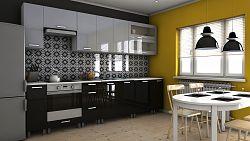 Kuchyňská linka v kombinaci černého a šedého lesku 300 cm s typem úchytek MDR F1362