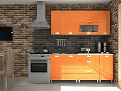 Kuchyňská linka v oranžovém lesku s úchytkami RLG F1295