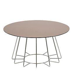 Kulatý konferenční stolek 80 cm se skleněnou bronzovou deskou na kovové podnoži DO053