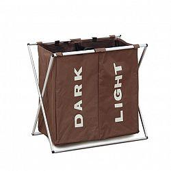 Látkový koš na prádlo tmavě hnědý dvojitý LAUNDRY TYP 2
