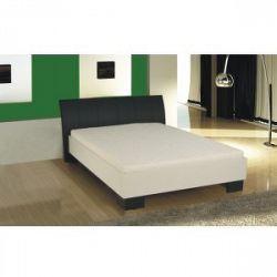 Manželská postel, ekokůže černá/bílé lamino, 180x200, TALIA