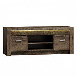 Masivní televizní stolek z tmavého jasanu s výraznou reliéfní kresbou TK210