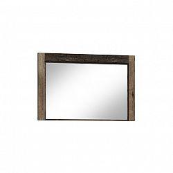 Masivní zrcadlo na zeď z tmavého jasanu s kovovými úchyty a výraznou reliéfní kresbou TK210