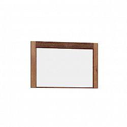 Masivní zrcadlo na zeď ze světlého jasanu s kovovými úchyty a výraznou reliéfní kresbou TK210