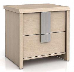 Noční stolek CAPS KOM2S dub světlý belluno/šedá lišta