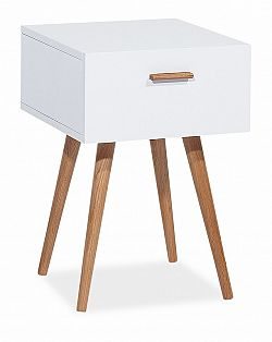 Noční stolek v bílém laku s dekorem dub typ S3 KN619