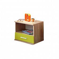 Noční stolek v jednoduchém moderním designu zelená EMIO Typ 05