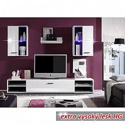 Obývací stěna bílá v moderním vysokém lesku MAYHEM