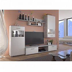 Obývací stěna v dekoru bílá v kombinaci beton světlý TK3220