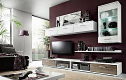 Obývací stěna v moderním dekoru dub wotan v kombinaci s bílou barvou KN367