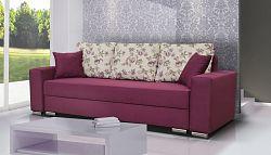 Pohodlná pohovka ve vínové barvě s polštáři se vzorem F1193