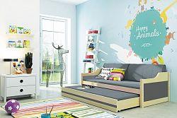 Pohovka z borovicového dřeva v kombinaci grafit barvy a dekoru borovice s přistýlkou F1357