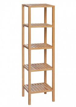 Regál, 5 polic, lakovaný bambus DR-011-3