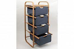 Regál bambusový 4-šuplíky (šuplíky v modré barvě) DR-017A AKCE