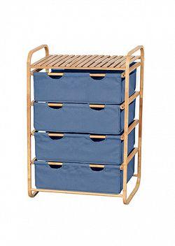 Regál bambusový 4-šuplíky (šuplíky v modré barvě) DR-018A