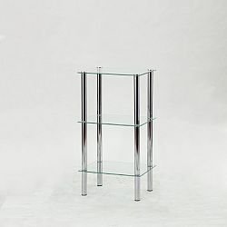 Regál moderní chrom čiré sklo FREDDY 2