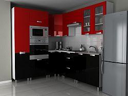 Rohová kuchyňská linka 230x190 cm v kombinaci černý a červený lesk s úchytkami MDR F1330