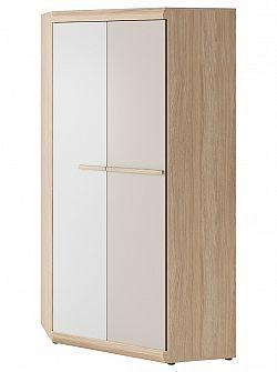 Rohová šatní skříň 93 cm v bílé a champagne barvě s korpusem v dekoru buk ibsen KN1138