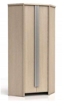 Rohová šatní skříň CAPS SZFN2D dub světlý belluno/šedá lišta
