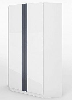 Rohová šatní skříň v bílém lesku typ 17 KN346