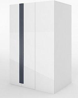 Rohová šatní skříň v levém provedení v bílém lesku s osvětlením typ 00L KN346