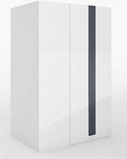 Rohová šatní skříň v pravém provedení v bílém lesku s osvětlením typ 00P KN346