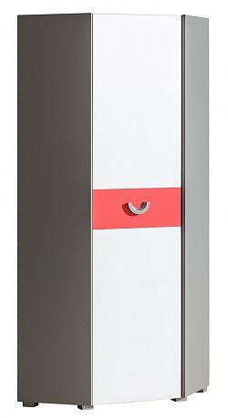 Rohová skříň s bílými dvířky s možností výběru barvy a korpusem v barvě grafit typ F7 KN742