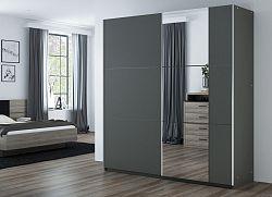 Šatní skříň 200 cm s posuvnými dveřmi v barvě grafit se zrcadlem a korpusem grafit KN1107