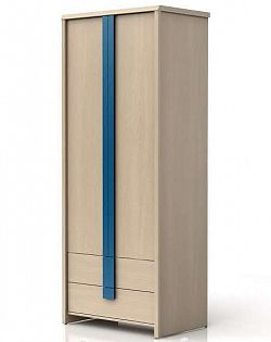 Šatní skříň CAPS SZF2D2S dub světlý belluno/modrá lišta