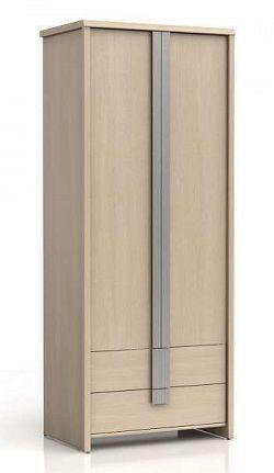 Šatní skříň CAPS SZF2D2S dub světlý belluno/šedá lišta