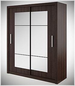 Šatní skříň s posuvnými dveřmi v barvě wenge se zrcadlem typ 02 KN343